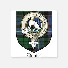 "Hunter Clan Crest Tartan Square Sticker 3"" x 3"""