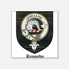 "Kennedy Clan Crest Tartan Square Sticker 3"" x 3"""