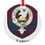 Lindsey Clan Crest Tartan Round Ornament