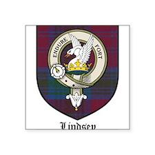 "Lindsey Clan Crest Tartan Square Sticker 3"" x 3"""