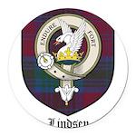 Lindsey Clan Crest Tartan Round Car Magnet