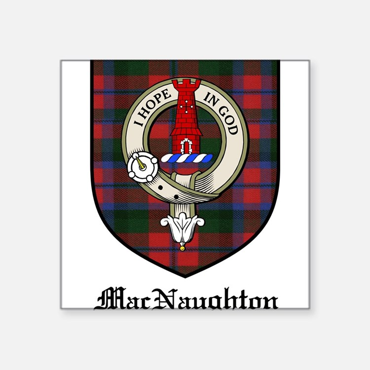 "MacNaughton Clan Crest Tartan Square Sticker 3"" x"
