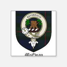 "McEwan Clan Crest Tartan Square Sticker 3"" x 3"""