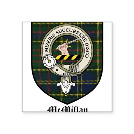 "McMillan Clan Crest Tartan Square Sticker 3"" x 3"""
