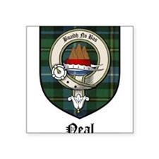 "Neal Clan Crest Tartan Square Sticker 3"" x 3"""