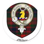 Oliver CLan Crest Tartan Round Car Magnet