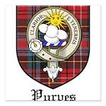 Purves Clan Crest Tartan Square Car Magnet 3