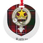 Rattray Clan Crest Tartan Round Ornament