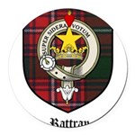 Rattray Clan Crest Tartan Round Car Magnet