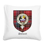 Stewart Clan Crest Tartan Square Canvas Pillow