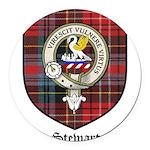 Stewart Clan Crest Tartan Round Car Magnet