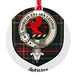 Stuart Clan Crest Tartan Round Ornament