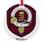 Walker Clan Crest Tartan Round Ornament