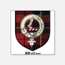 "Wallace Clan Crest Tartan Square Sticker 3"" x 3"""