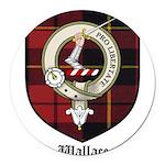 Wallace Clan Crest Tartan Round Car Magnet