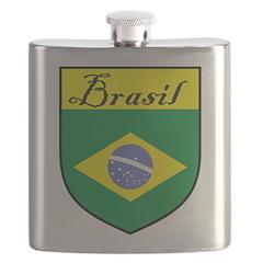 Brasil Flag Crest Shield Flask
