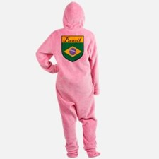 Brasil Flag Crest Shield Footed Pajamas