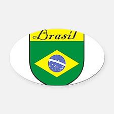 Brasil Flag Crest Shield Oval Car Magnet