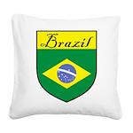 Brazil Flag Crest Shield Square Canvas Pillow