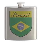 Brazil Flag Crest Shield Flask