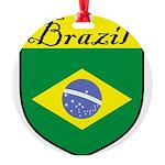 Brazil Flag Crest Shield Round Ornament