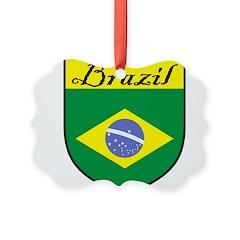 Brazil Flag Crest Shield Picture Ornament