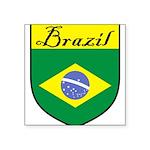 Brazil Flag Crest Shield Square Sticker 3