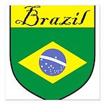 Brazil Flag Crest Shield Square Car Magnet 3