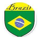 Brazil Flag Crest Shield Round Car Magnet