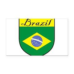 Brazil Flag Crest Shield Rectangle Car Magnet