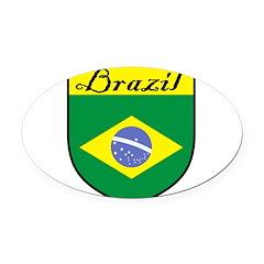 Brazil Flag Crest Shield Oval Car Magnet