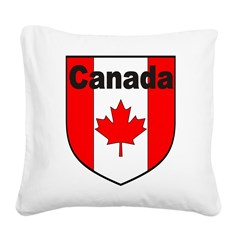 Canadian Flag Shield Square Canvas Pillow