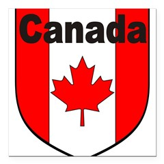 Canadian Flag Shield Square Car Magnet 3