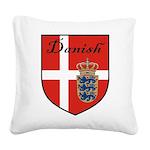 Danish Flag Crest Shield Square Canvas Pillow
