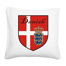Danish Flag Crest Shield Square Canvas Pillow
