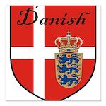 Danish Flag Crest Shield Square Car Magnet 3