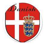 Danish Flag Crest Shield Round Car Magnet
