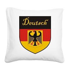 Deutsch Flag Crest Shield Square Canvas Pillow