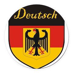 Deutsch Flag Crest Shield Round Car Magnet