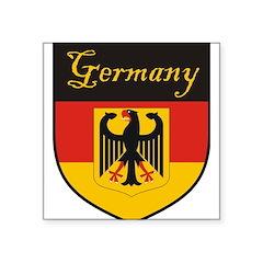 "Germany Flag Crest Shield Square Sticker 3"" x 3"""