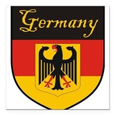 "Germany Flag Crest Shield Square Car Magnet 3"" x 3"