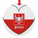 polska-heart2.jpg Round Ornament