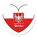 polska-heart2.jpg Round Car Magnet