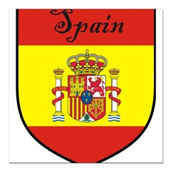 Spain Flag Crest Shield Square Car Magnet 3
