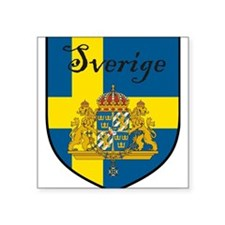 "Sverige Flag Crest Shield Square Sticker 3"" x 3"""