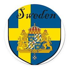 SwedenSHIELD.png Round Car Magnet