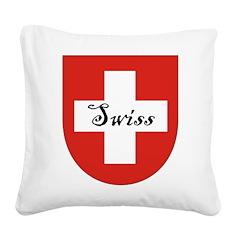 Swiss Flag Crest Shield Square Canvas Pillow