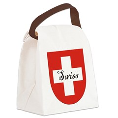 Swiss Flag Crest Shield Canvas Lunch Bag