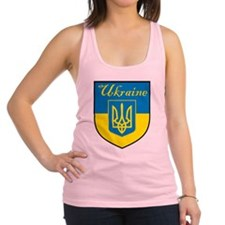 Ukraine Flag Crest Shield Racerback Tank Top