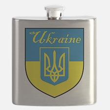 Ukraine Flag Crest Shield Flask